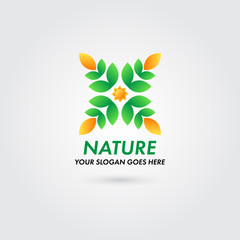 Logo Nature Leaf Sun Concept Template