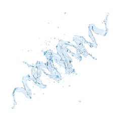 Water spiral with water droplets isolated. 3D illustration
