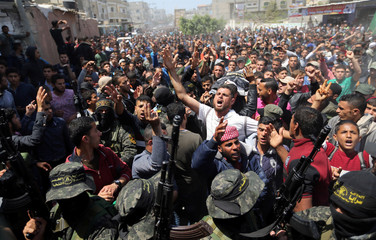 Palestinians attend the the funeral of Islamic Jihad militants who were killed in an explosion, in Rafah in the southern Gaza