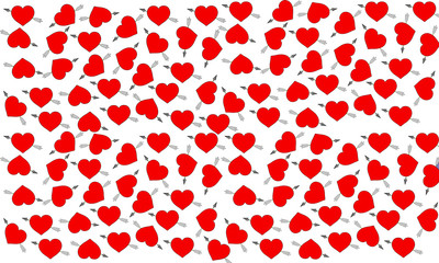 Red heart and colored arrow on white background