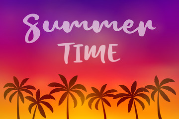 Colurful poster with palm trees - summer holiday. Vector.