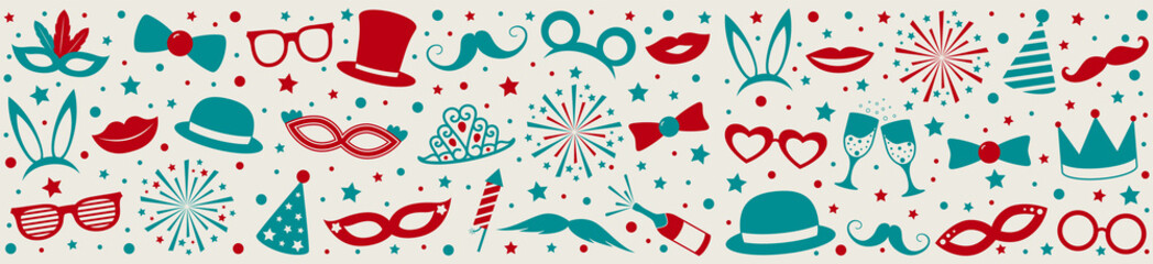 Party banner with funny elements - panoramic header. Vector.
