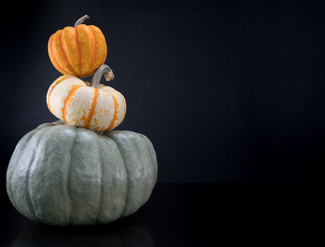 Acorn Squash Sits Atop Pumpkin Tower