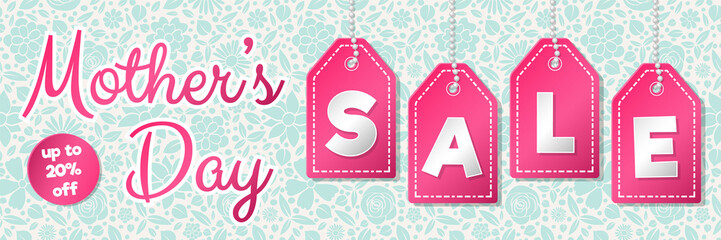 Mother's Day Sale - glossy banner with flowers. Vector.