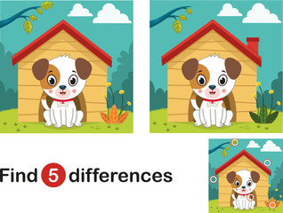 Find 5 differences education game for children, dog in the nature.(Vector illustration)