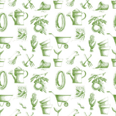 Seamless pattern with hand-drawn gardening elements
