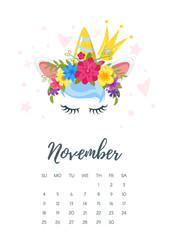 November 2018 year calendar