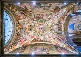 Ceiling fresco by G.B. Ricci in the chapel of Nicholas Tolentino in the Church of Sant'Agostino in Rome, Italy.