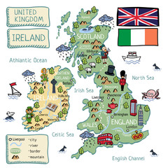 Cartoon map of United Kingdom and Ireland