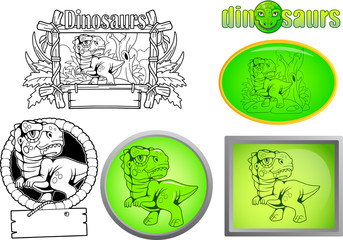 cartoon cute dinosaur, set of images