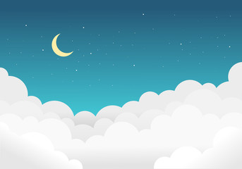Sky and clouds background with bright stars and half moon.