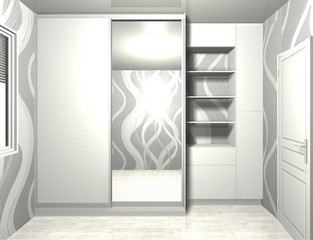 3D rendering illustration interior design, wardrobe with mirrored sliding doors