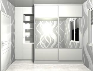 3D rendering wardrobe with mirrored sliding doors