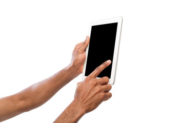 Holding and pointing on blank screen on tablet