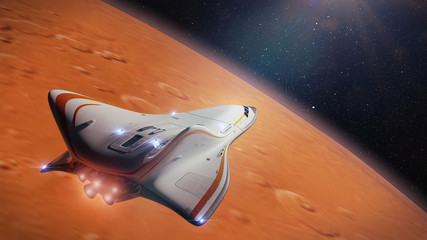 futuristic spaceship in orbit of the planet Mars, shuttle mission to the red planet (3d science fiction illustration)