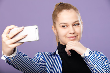 teenager selfie mobile phone