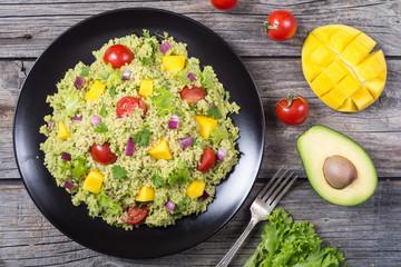 Quinoa salad with guacamole