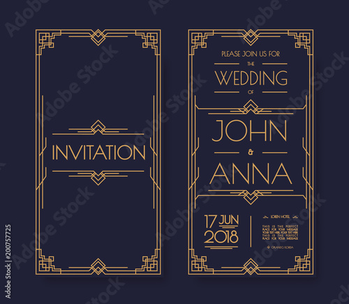 Vector Art Deco And Arabic Vintage Wedding Invitation