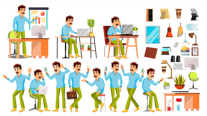 Business Man Character Vector. Working People Set. Office, Creative Studio. Worker. Full Length. Programmer, Designer, Manager. Poses, Face Emotions. Cartoon Business Character Illustration