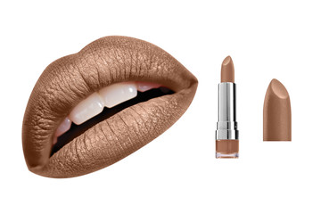Brown gold glossy satin lipstick and high resolution woman lips, isolated on white background, clipping path included