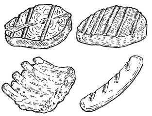 Set of hand drawn grilled meat. Grilled salmon, roasted steak, sausage, roasted ribs. Design elements for restaurant decoration, poster, banner, menu, flyer.