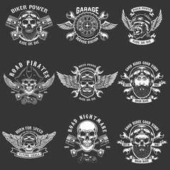 Set of biker club emblem templates. Vintage motorcycle labels. Design element for logo, label, emblem, sign.