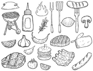 Set of hand drawn grill design elements. Meat, vegetables, grills, kitchen tools. Design elements for poster, menu, flyer.