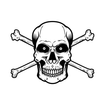 Skull with crossbones isolated on white background. Design element for poster, card, t shirt.