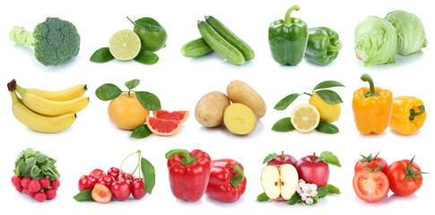 Wall Mural - Fruits and vegetables collection isolated apple banana potatoes colors fresh fruit