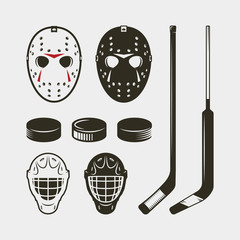 set of hockey equipment and gear. helmet, mask and puck. vector illustration