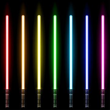 lightsaber, Light Swords Set. Colourful Lasers. Design Elements for Your Business Projects. Vector illustration.
