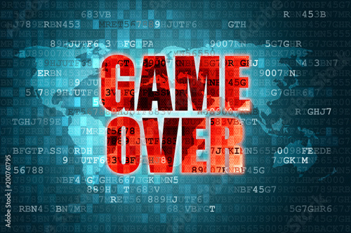 Illustration of pixel red game over screen on blue digital world map illustration of pixel red game over screen on blue digital world map background gumiabroncs Images