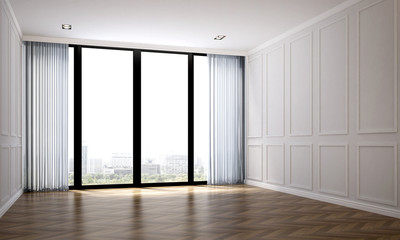 The interior design of empty luxury living room and white wall pattern background