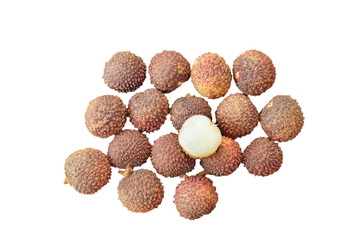 lychee tropical fruit peel out on white background