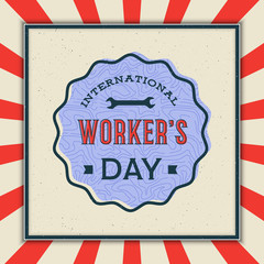 labor day badge. international workers day vector Illustration