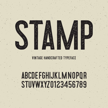 vintage handcrafted typeface with stamp effect. vector illustration