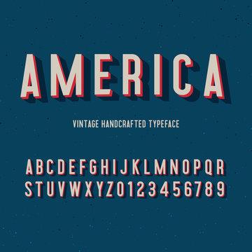 america vintage handcrafted 3d alphabet. vector illustration