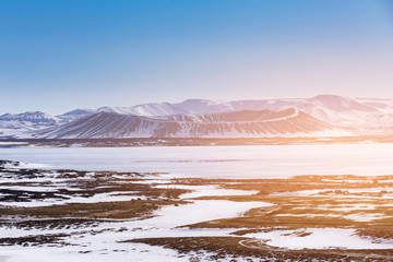 Volcano natural landscape in Iceland winter season with clear blue sky background