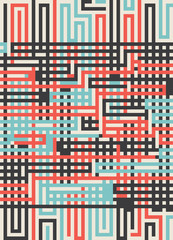 maze lines techno background Design elements retro colorful04
