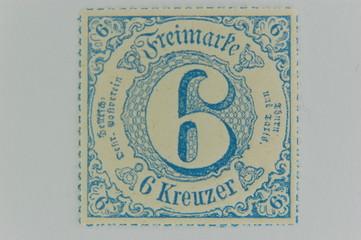 6 Kreuzer Briefmarke Altdeutschland 1866