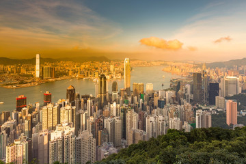 The Peak view of Hong Kong business downtown aerial view