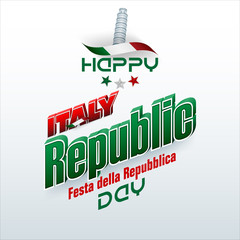 Holiday design, background with 3d texts, national flag colors and tower of Pisa, shape for second of June, Italy Republic day, celebration; Vector illustration