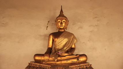 Religion. Golden Buddha Image In Buddhism Temple
