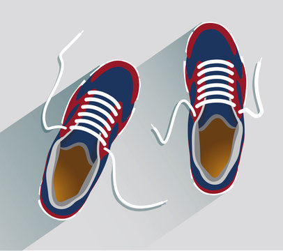 Sneakers. Sneakers in flat style. Sneakers top view. Fashion sneakers. Fashion sneakers blue. Vector illustration Eps10 file