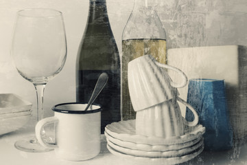 Still life with crockery and bottles, grunge texture background