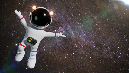 cute white cartoon astronaut character floating in space in front of the stars (3d science fiction illustration)