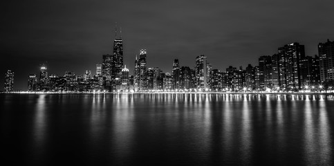 The night skyline of Chicago from North Ave Beach