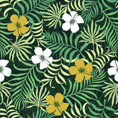 Tropical background with palm leaves and flowers. Seamless floral pattern. Summer vector illustration