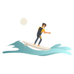 Summertime sea and ocean activity - young man in swimwear riding wave on surfboard isolated on white background. Cartoon male character surfboarding in blue water, vector illustration.