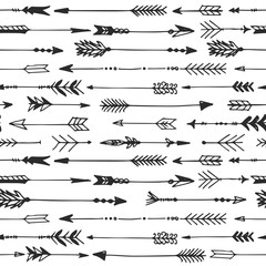 Arrow rustic seamless pattern. Hand drawn vintage vector background. Decorative design illustration.